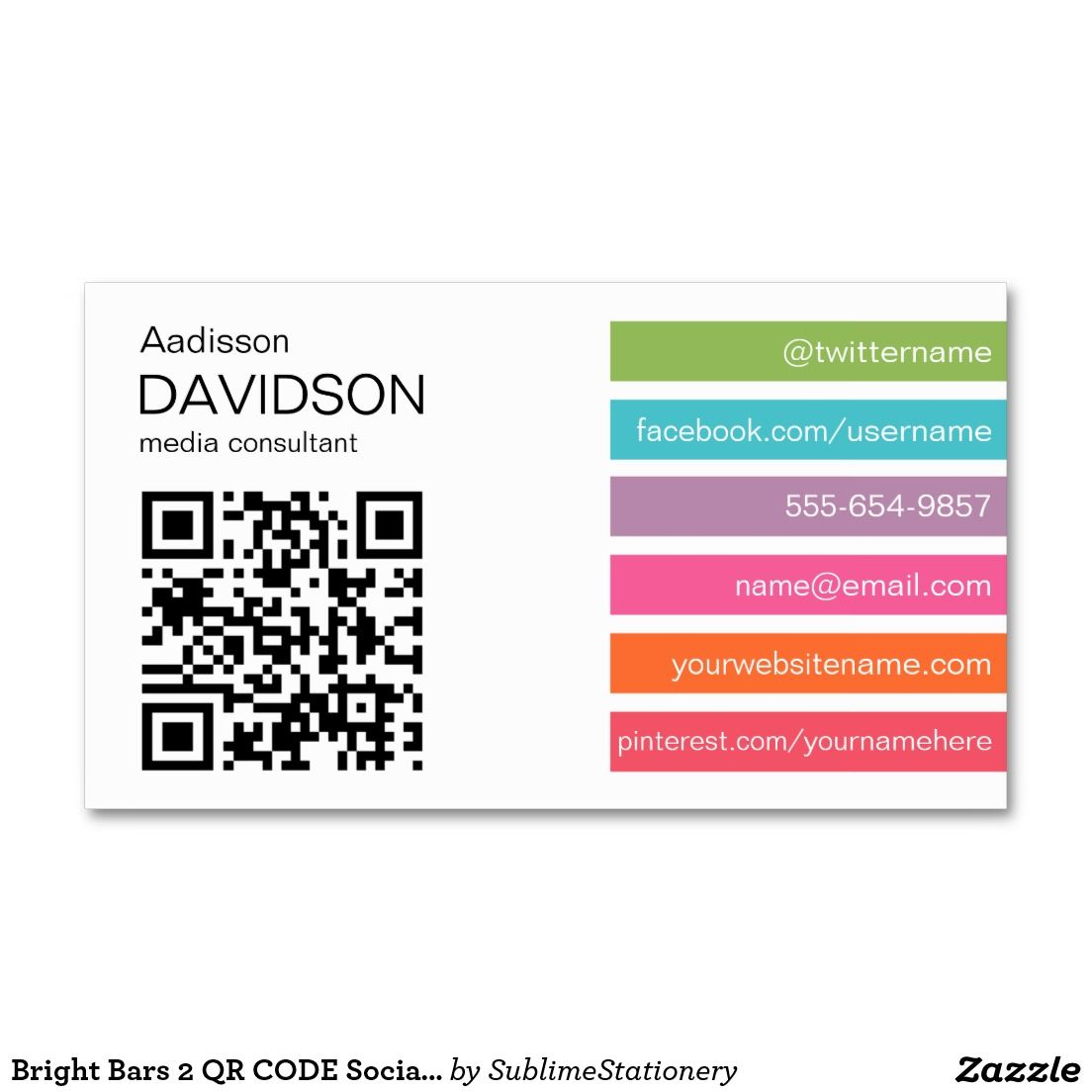 Bright Bars 2 QR CODE Social Media Business Card | Graphics and all ...