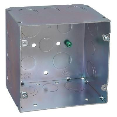 Steel City 2 Gang 5 In New Work Metal Square Electrical Box With 1 2 In To 3 4 In And 1 In Knockouts 20 Per Case 82181 1234 1 Metal Electrical Box Wall Boxes Home Depot