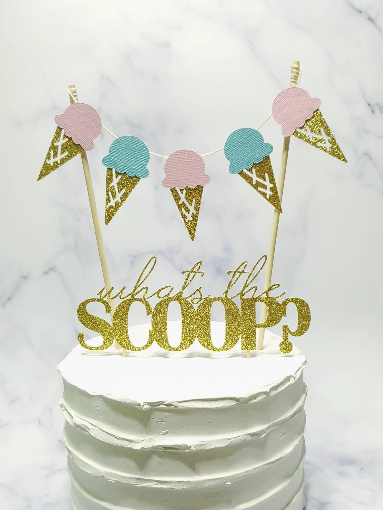 Whats The Scoop Cake Topper What S The Scoop Cake Topper Etsy Ice Cream Decorations Gender Reveal Cake Ice Cream Party