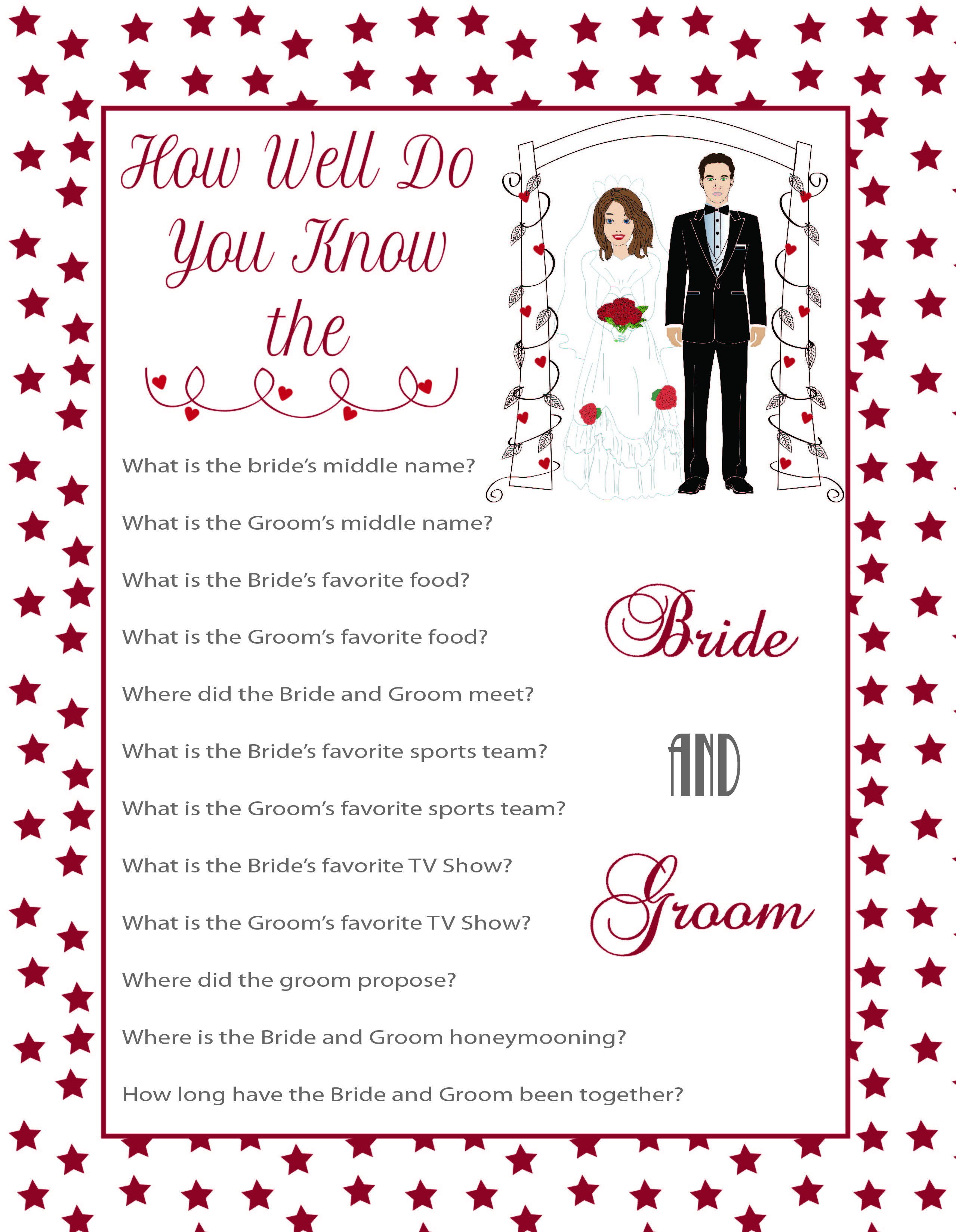 Bridal Shower Game How Well Do You Know The Bride And