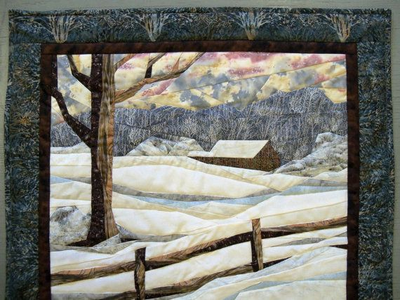 Fabric Art Landscape Quilted Snow Scene Wall By Serenstitches 125 00 Landscape Quilts Landscape Quilt Picture Quilts