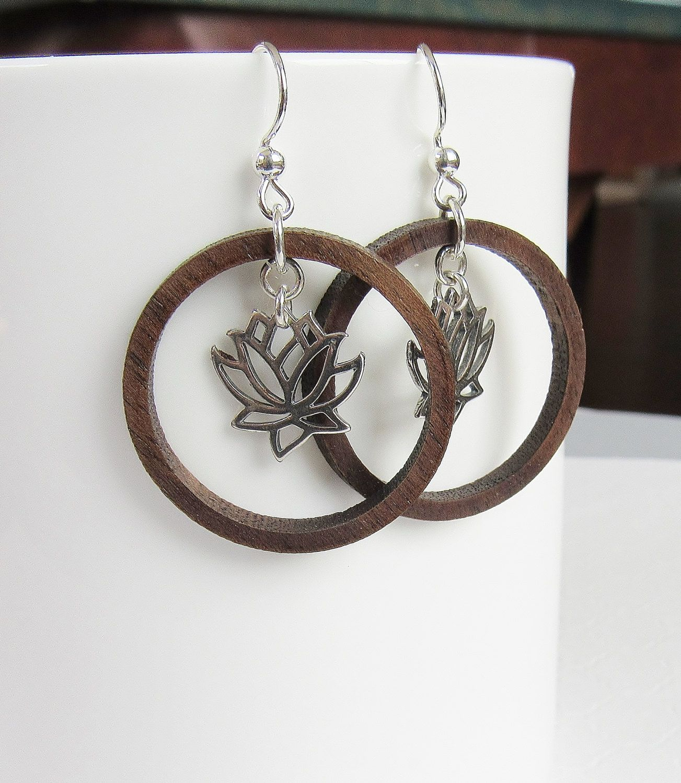 Photo of Hoop Earrings, Wood Hoop Earrings, Lotus Flower Earrings, Sterling Silver Earrings, Meaningful Jewelry, Handmade Earrings, Dangle Earrings