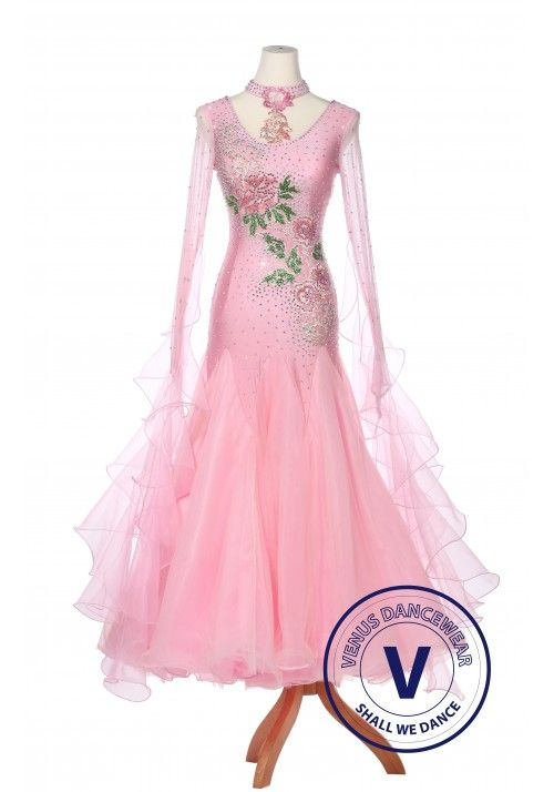 3ba1fa97a489 Pink Paeonia Women Ballroom Smooth Waltz Standard Competition Dress