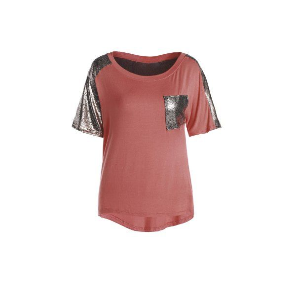 Stylish Round Neck Short Sleeve Spliced Sequined Women's T-Shirt — 9.50 € Size: XL Color: ORANGE