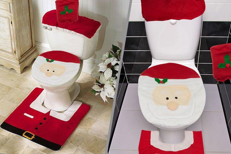 3pc Santa Toilet Seat Cover Set