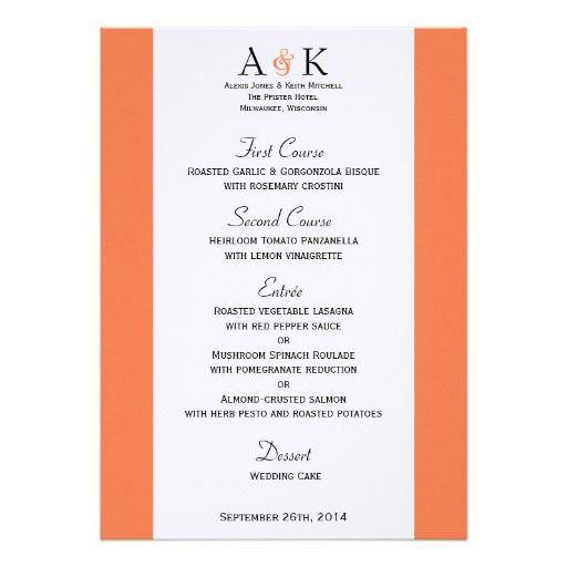 Ampersand Elegance: Coral Wedding Menu Personalized Invites