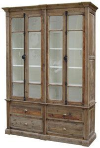 Image Result For Rustic Bookcase With Glass Doors