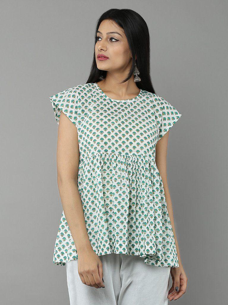short top Indian handmade cotton block printed shirt blue designer top for summer women wear cotton blouse