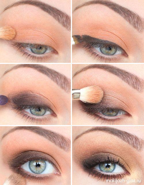 Дымчатый макияж глаз пошагово фото