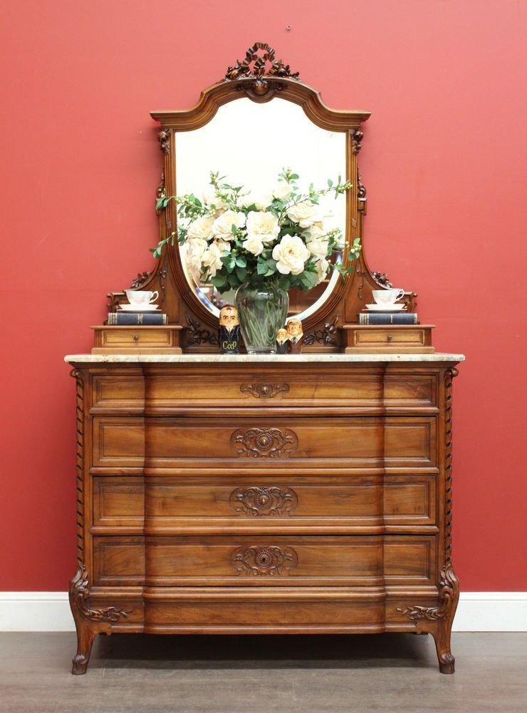 Because Antiques Interiors Antique French Walnut Drawer Chest Of Drawers Mirror Back