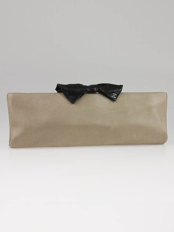 0b4a7ba4d35857 Chanel Brown/Black Lambskin Leather Bow Clutch Bag   SHOULDER ...