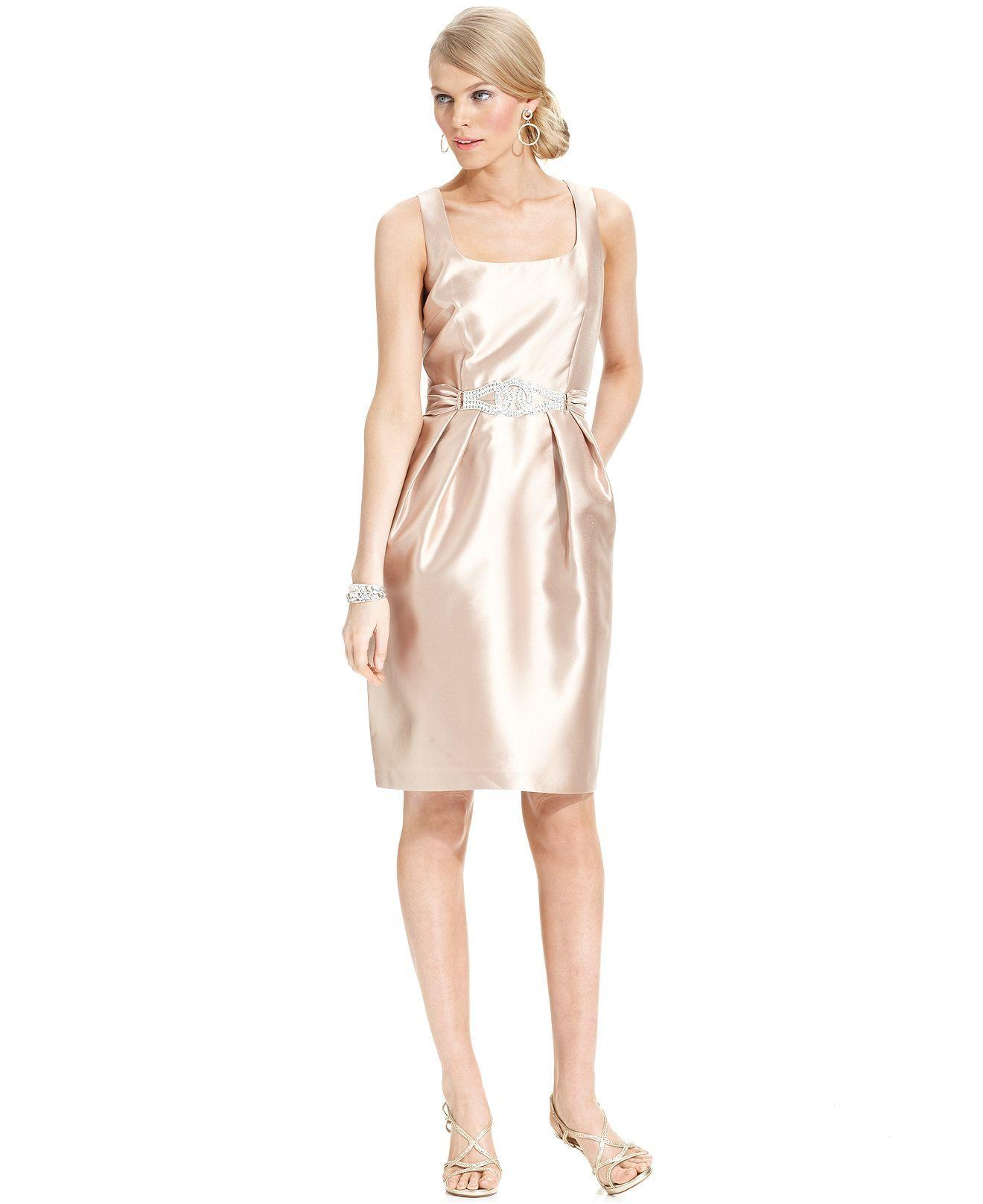 Alex Evenings Dress, Sleeveless Jeweled Sheath - Womens Dresses ...