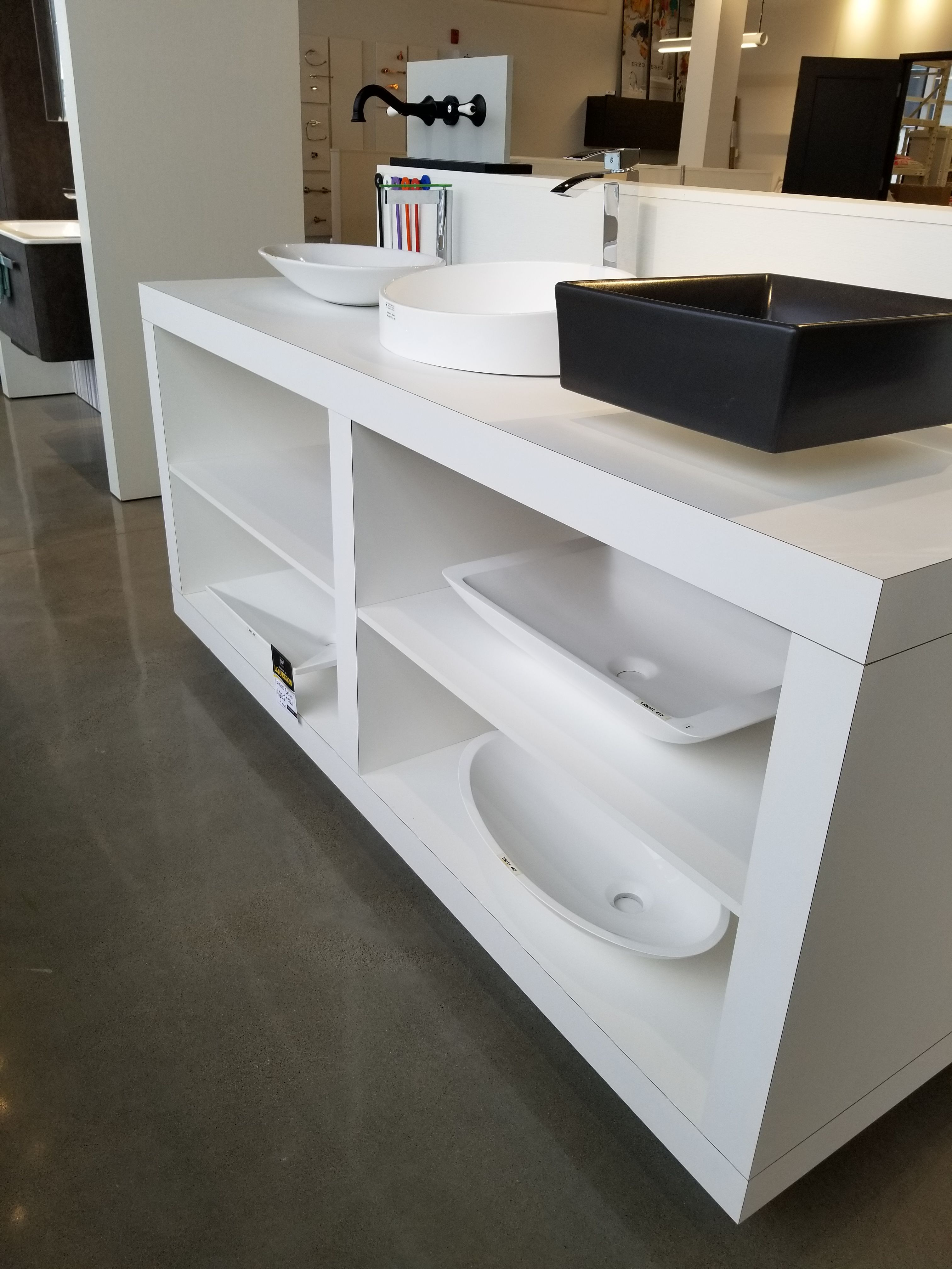 Magnificent Vessel Sink Display Custom Displays For Kitchen And Bath Home Remodeling Inspirations Genioncuboardxyz