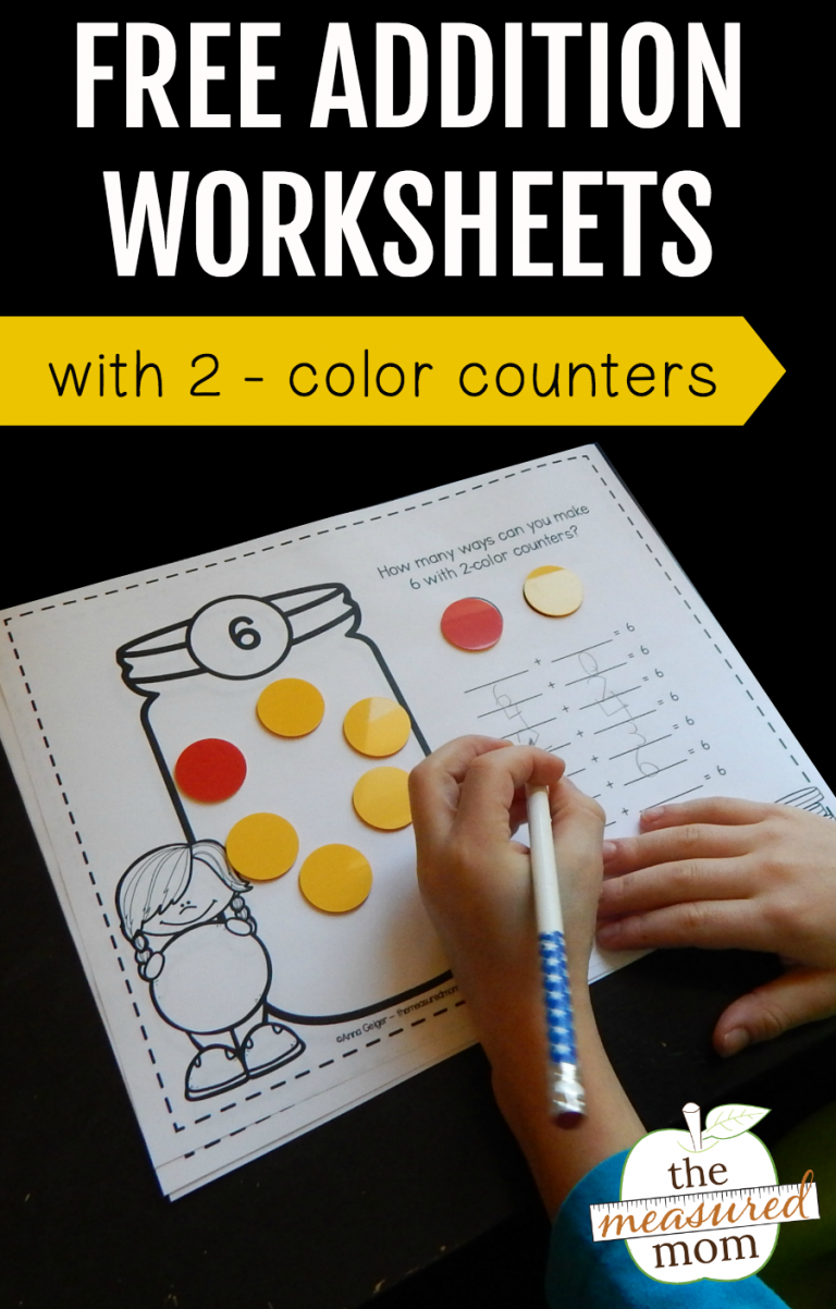 Free addition worksheets with 2-color counters | Kindergarten ...
