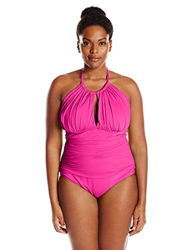 5bdf84ab60 Kenneth Cole Reaction Women's Plus-Size Ruffle Shuffle Solid High-Neck  Swimsuit ** Want additional info? Click on the image.