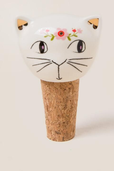Meow Cat Floral Bottle Stopper 104 Style Frbs023 Cork Stopper 3 Inches In Height Ceramic Floral Design Reads Meow In Gold Foil By Natural Life