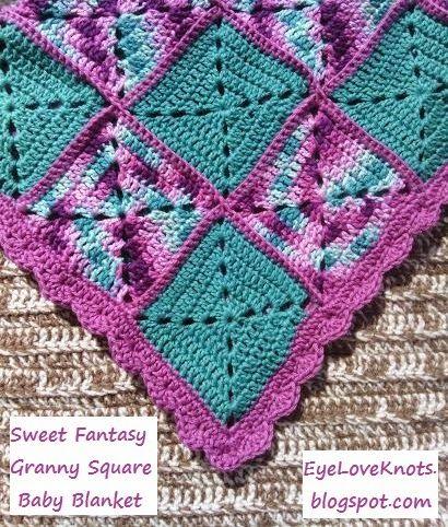 EyeLoveKnots: Sweet Fantasy Granny Square Baby Blanket - Free crochet pattern including squares, joining and edging.