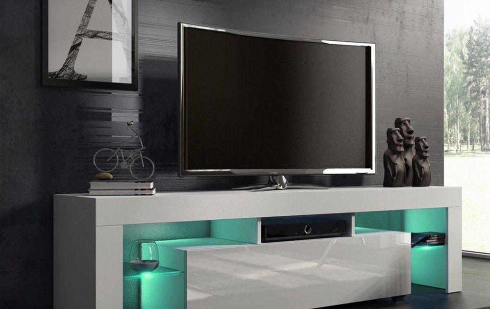 TV STAND Media Cabinet Entertainment Center Furniture Modern Glass Shelves  White