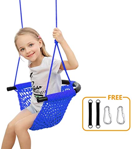 Donghoodshop Kids Swing Seat Heavy Duty Rope Play Secure Children Swing Set For Indoor Outdoor Playground Home Tree With Snap Hooks And Swing Straps