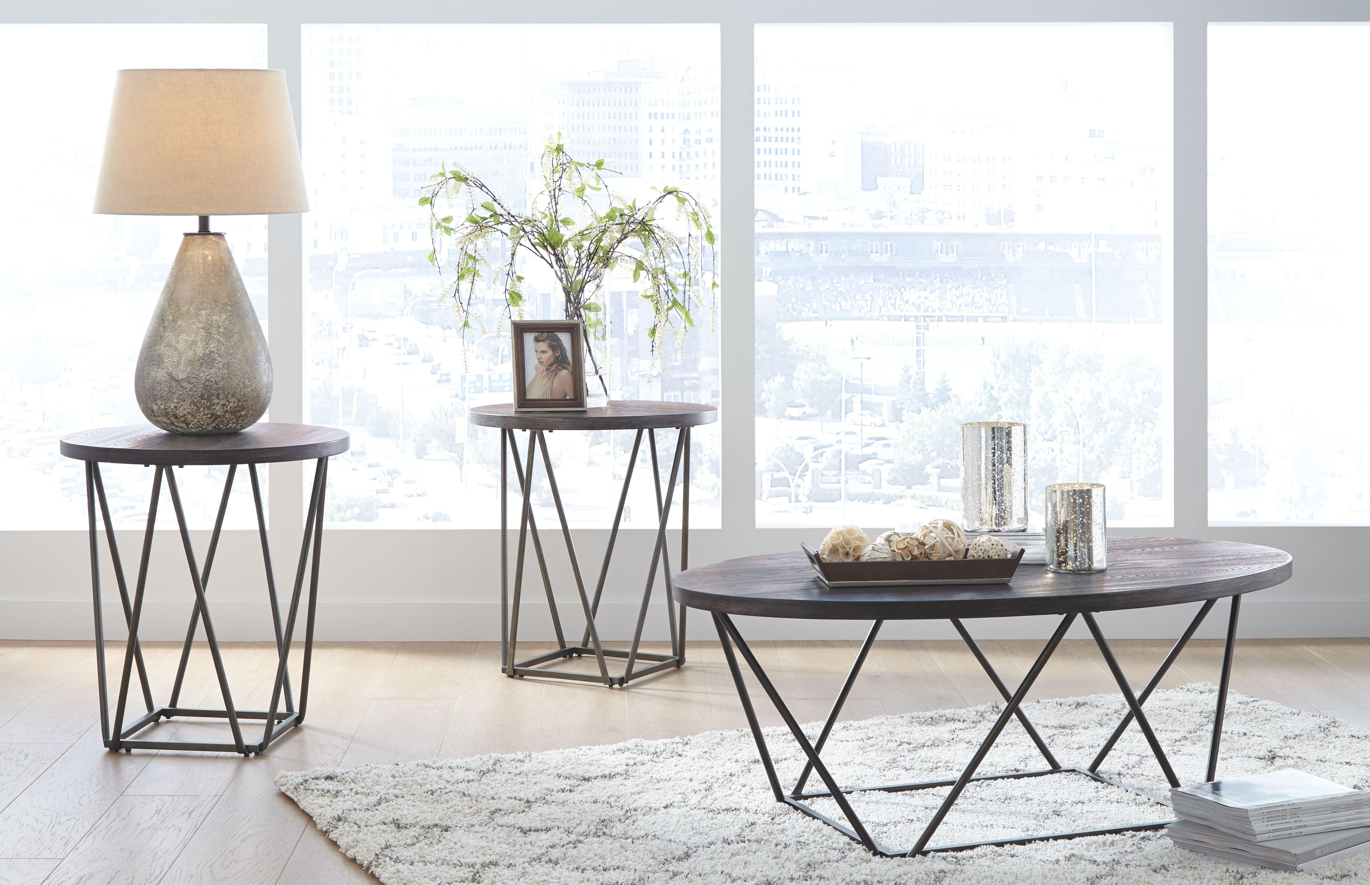 Neimhurst Table Set Of 3 Dark Brown In 2020 Living Room Table Sets 3 Piece Coffee Table Set Coffee Table Setting