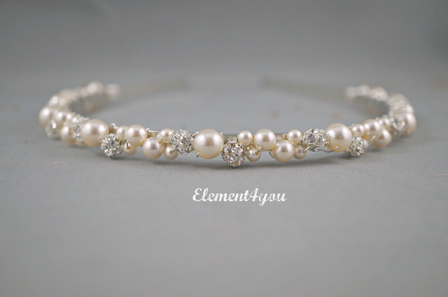 Swarovski Pearls rhinestone Balls Bridal Tiara Headband White or Ivory Beaded Silver Metal Hair Bridesmaid Wedding accessories Hair piece by Element4you on Etsy https://www.etsy.com/listing/108865058/swarovski-pearls-rhinestone-balls-bridal