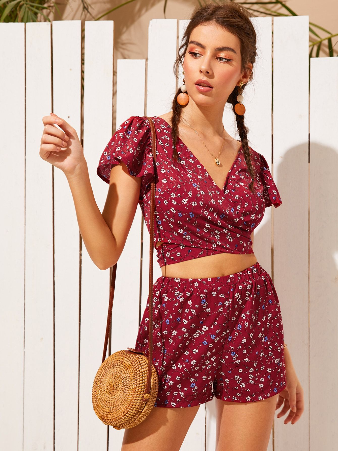 Floerns Womens One Shoulder Print Top /& Cycling Shorts Set Two Pieces Outfit