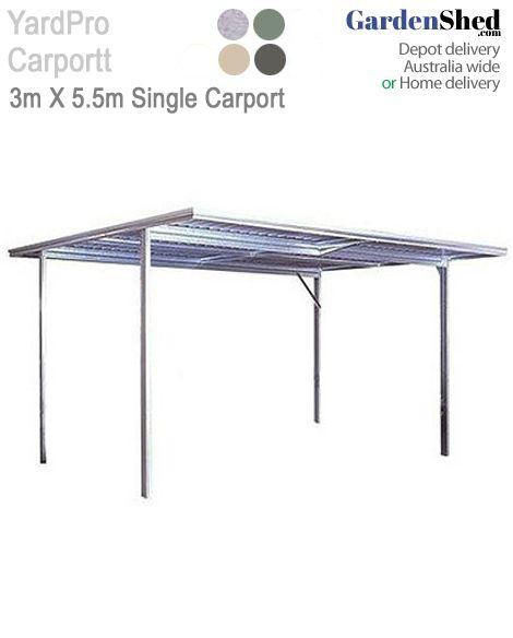 Spanbilt Yardpro Single Carport Flat Roof 3m X 5 5m X 2 4m Flat Roof Carport Roller Doors