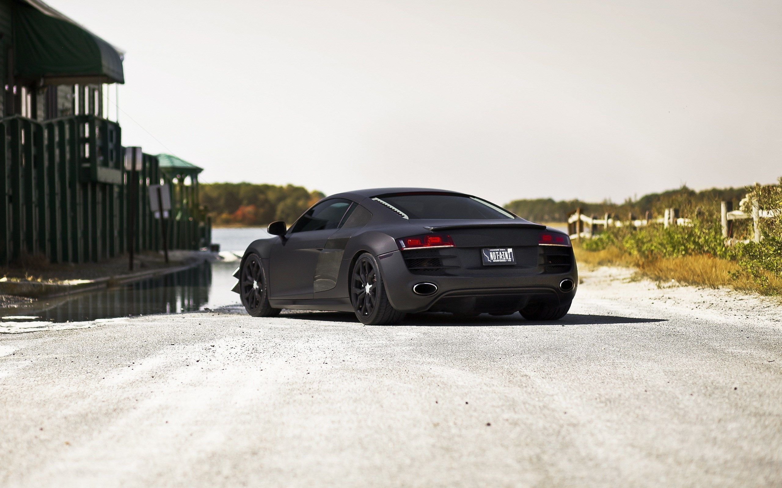 Audi R8 Matte Black HD Wallpaper