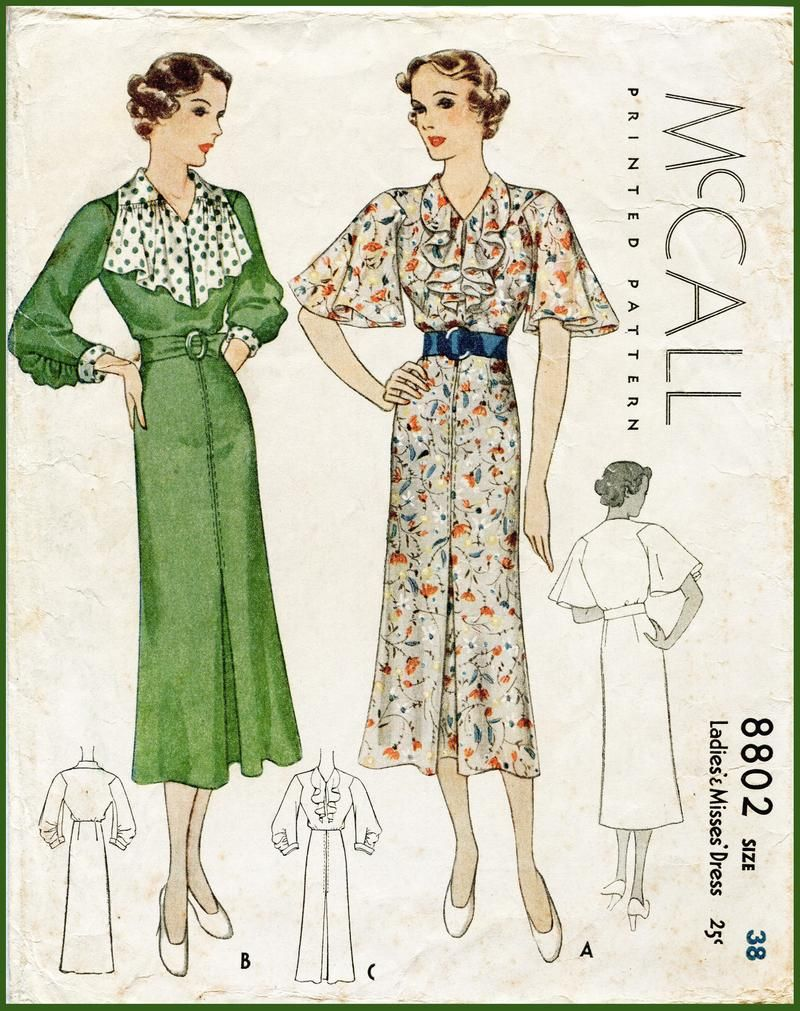 Mccall 8802 1930s Dress Ruffle Collar Vintage Sewing Pattern