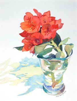 Amazon.com: Red Rhododendron, Giclee Print of Watercolor Still ...