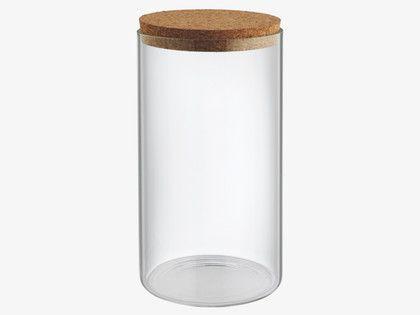 JADON Large glass storage jar with cork lid H20cm