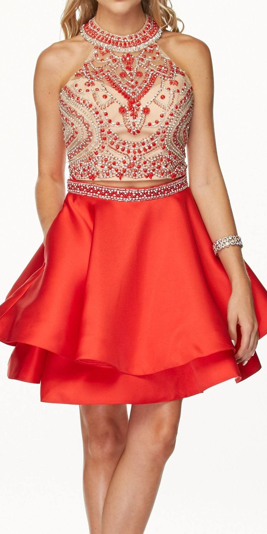 5c5dcd5b1c2b Two-Piece Short Prom Dress Halter Embellished Bodice Red | quince ...