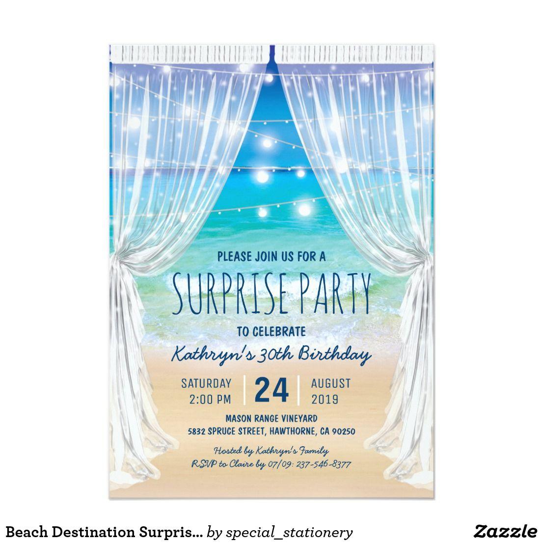 Beach Destination Surprise Birthday Party Invitation Zazzle Com