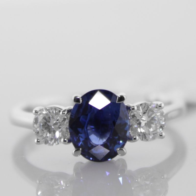 Engagement Rings Galway: Ceylon Sapphire And Diamond Trilogy Ring €5,995