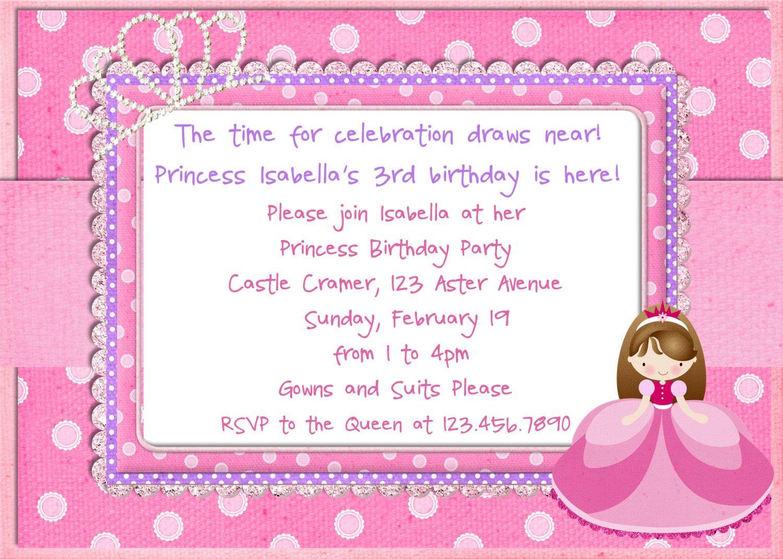 Princess Birthday Invitation Glitter Pink Princess by 3PeasPrints ...