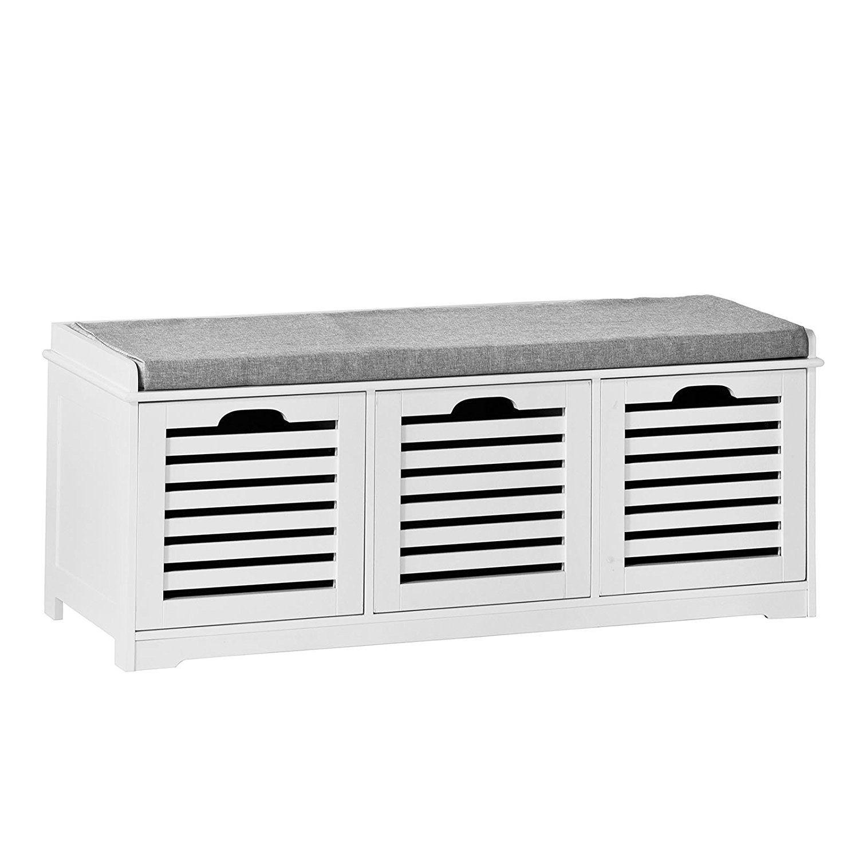 SoBuy® Banco de almacenamiento con acolchados cojines y 3 cubos ...