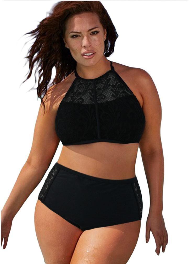4585908130fcd Black Patterned Mesh Insert Plus Size Swimwear in 2019