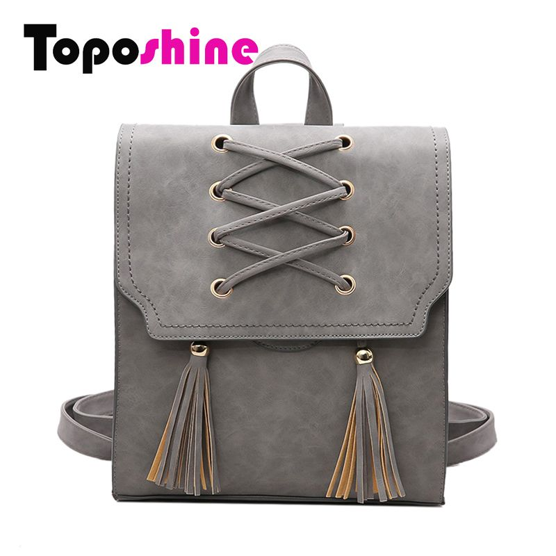 782f36b7181 Toposhine 2017 NEW Fashion Backpack Tassel Women Backpack PU Leather School  Bag Women Casual Style A4 Paper Women Backpacks 1651