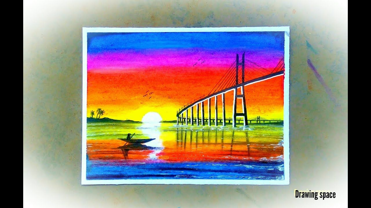 Bridge Sunset Scenery Drawing With Oil Pastels Step By Step