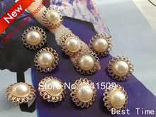 30pcs 24mm Hollow Out Flower Design Imitation Pearl Buttons Pretty Large Plastic Gold Buttons Jewels Flower Design Button X19(China (Mainland))