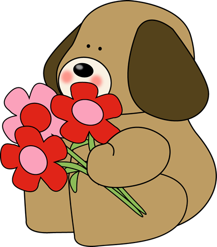 Graphic Valentine Clip Art Valentine S Day Dog With Flowers Cute Dog Holding A Bouquet Of Red Valentines