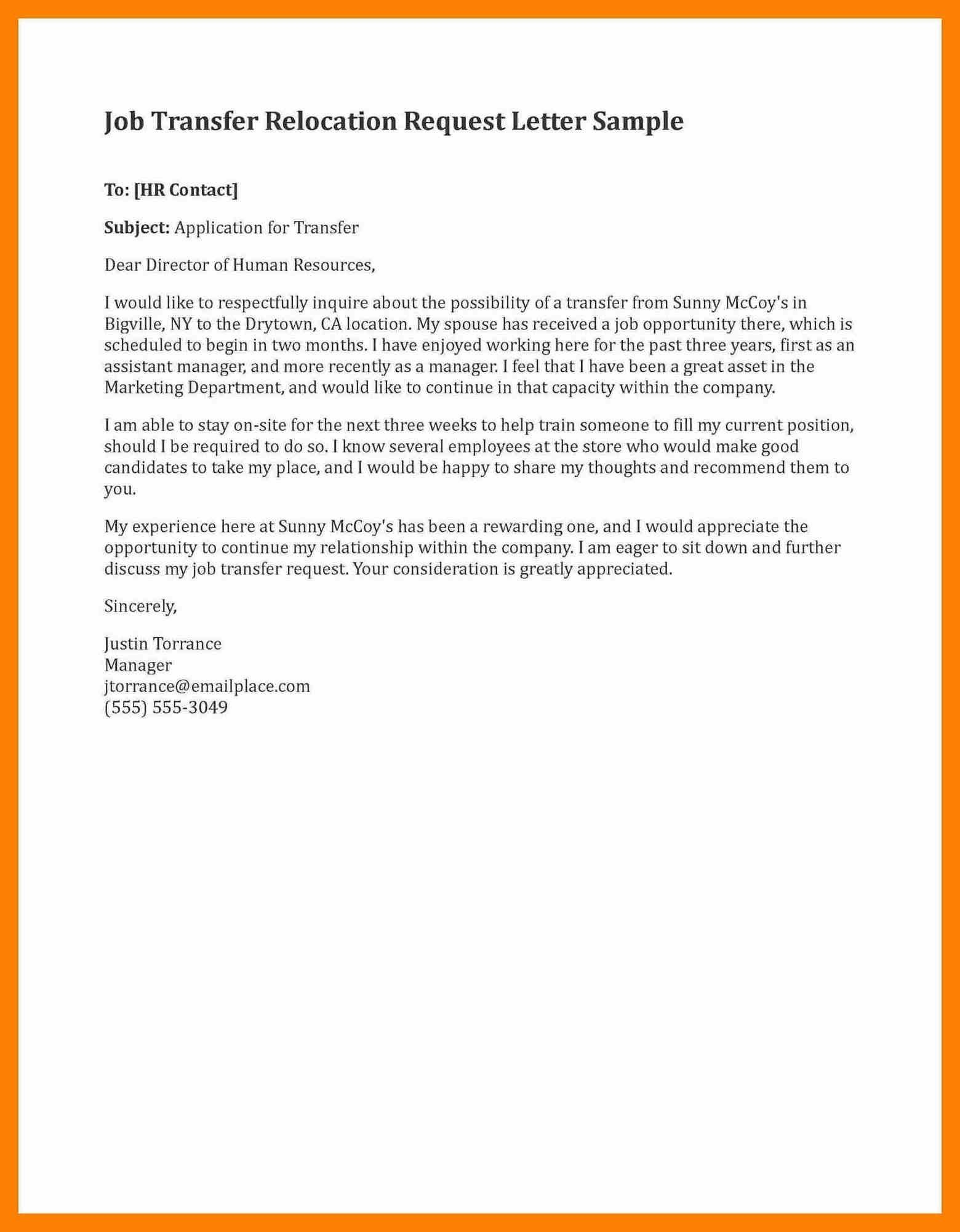 Download best of sample job transfer request letter