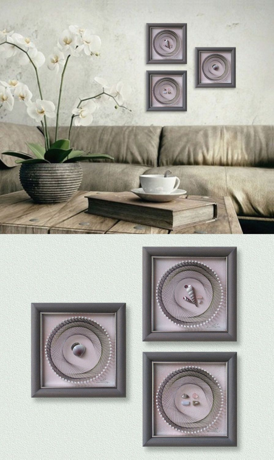 modern string art set pastel pink costal wall decor with