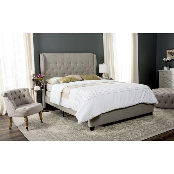 Best Safavieh Blanchett Light Grey Linen Upholstered Tufted 400 x 300