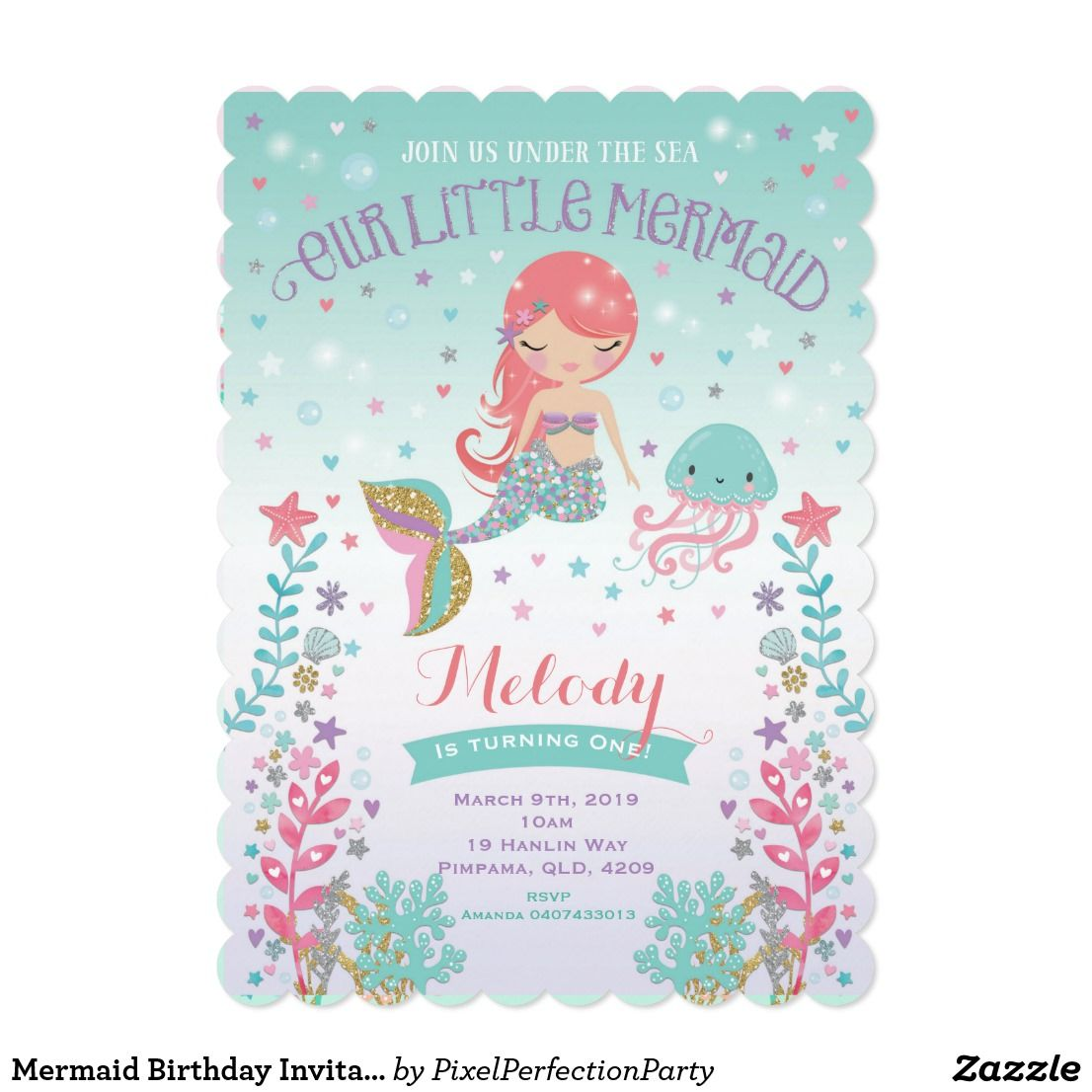 Mermaid Birthday Invitation Under The Sea Party | Melody first ...