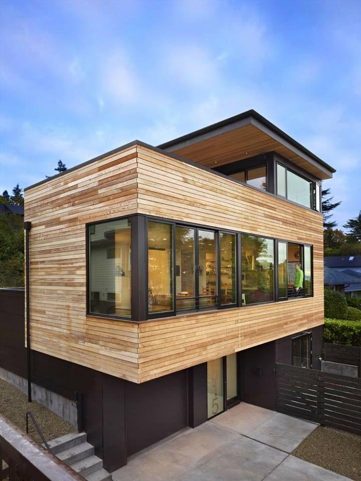 agrandissement maison en cube à bardage en bois sur pilotis idées