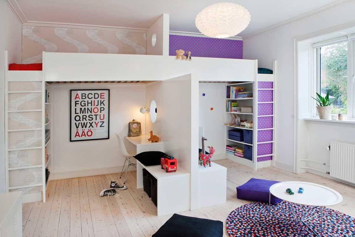 Bror og søster i samme rum   Kids shared bedroom, Shared