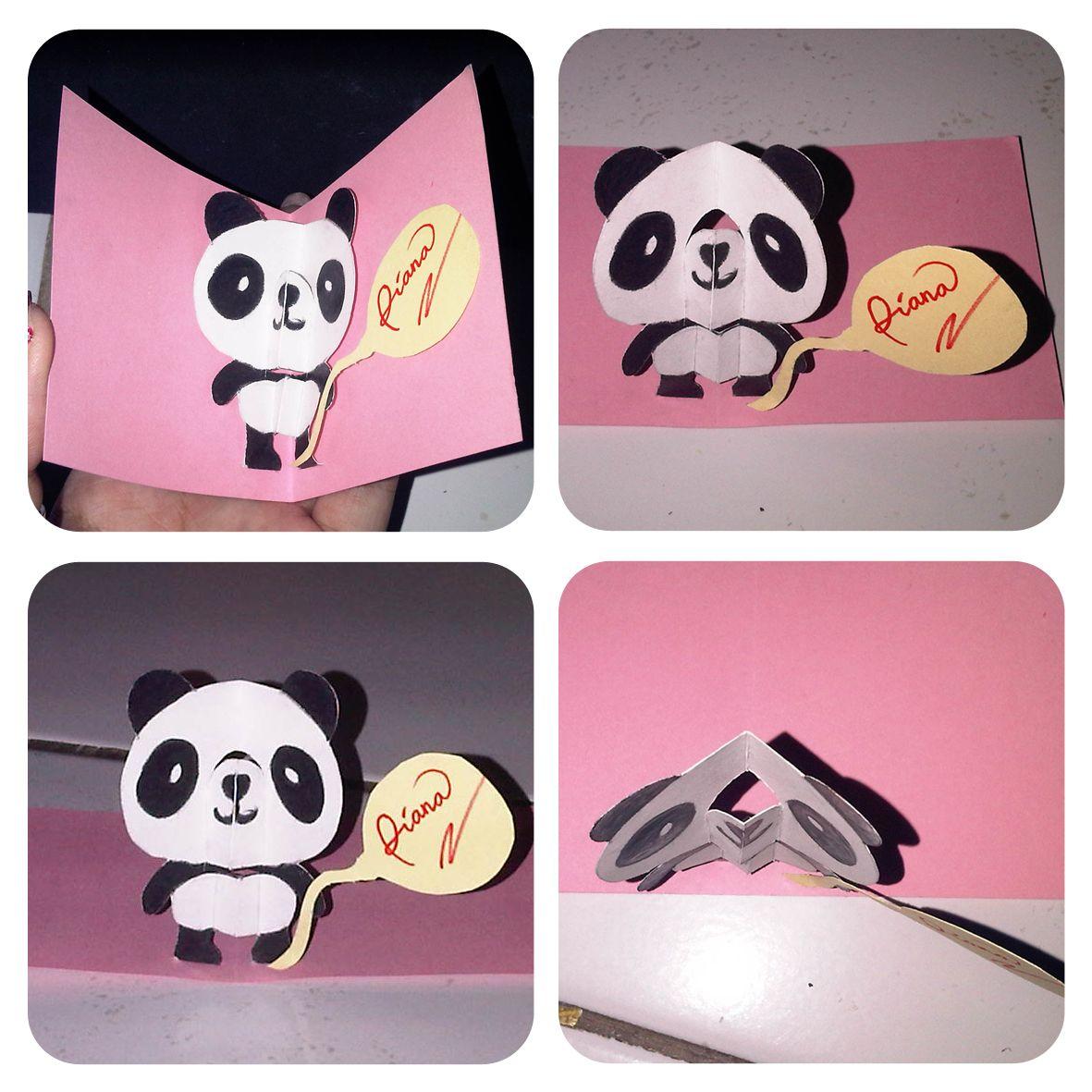 D I Y Panda S Pop Up Card Pop Up Cards Panda Pop Cards