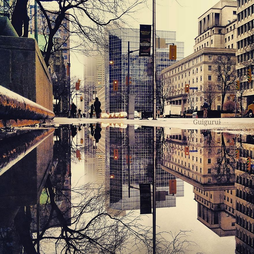 With my Instagram account @guigurui I try to demonstrate you don't need a professional camera to take a good picture. With the use of a smartphone, one can take a beautiful picture that tells its own story.  Many people don't like rain, but the puddles left behind can be more than magical.