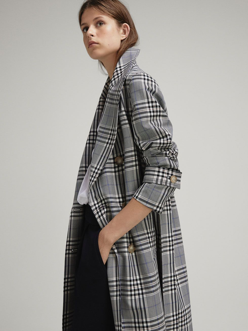 3152f5a846 CHECKED WOOL TRENCH COAT - Women - Massimo Dutti